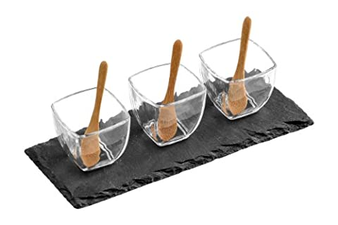 Premier Housewares Glass Square Snack Bowls with Spoons on Slate Tray - Set of 3