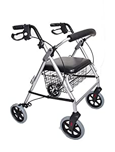 Lightweight Aluminium Folding Rollator With Basket and Brakes - Zimmer- 4 Wheeled Walker