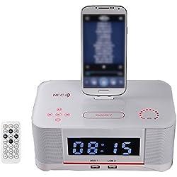 Mettime Radio-réveil Station d'accueil Docking Haut-parleur Bluetooth Réveil Chargeur Base de chargement Radio FM et Convient pour Samsung s4 et Android 4.1 ci-dessus téléphone mobile, white