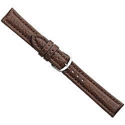 Buffalo Ersatzband Uhrenarmband Büffelleder Dunkelbraun 20735S, Stegbreite:20mm