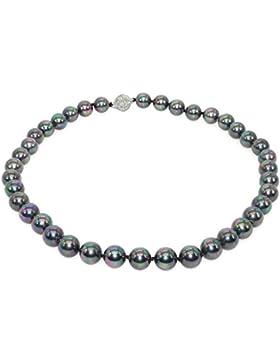 Schmuckwilly Muschelkernperlen Perlenkette Perlen Collier - schwarz mit violett Glanz Hochwertige Damen Kette...
