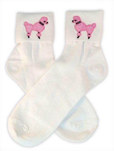 Kostüm Gumball Kinder - Hip Hop 50s Shop Damen Bobby Socken, mit Pudelapplikation - Pink - Einheitsgröße