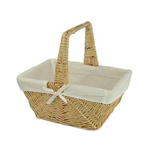 Rurality-Cesto intrecciato con manico in vimini e fodera in (Woven Willow Picnic Basket)