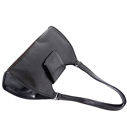 Handtasche mit Doppelgriff aus echtem Rindsleder 6414 Schwarz