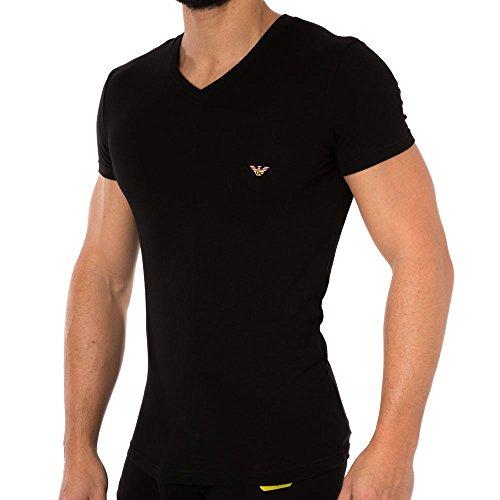 Emporio Armani schwarzes T-Shirt mit V-Ausschnitt Männer Schwarz