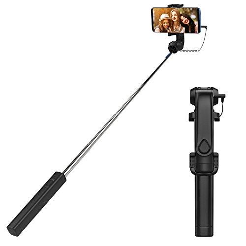 MoKo Allungabile Selfie Stick 70cm, Supporto Regolabile, Controllo dalla Porta di Auricolari, per Cellulare Fino ad 5.7 Pollci, come Samsung, Zenfone, Huawei, ecc.. (NON per iPhone 7/ 8/ X), Nero