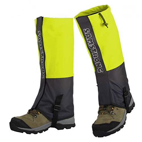 Las Polainas - Funda Impermeable para Botas de Nieve Botines para Hombres y Mujeres Senderismo, Caza, Escalada, Caminar, Ciclismo, Raquetas de Nieve (Adultos Fluorescentes Amarillos)