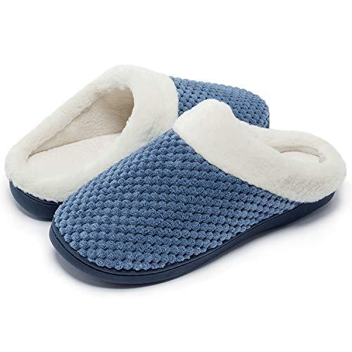 Kuako Hausschuhe Damen Fleece gefütterte Anti-Skid Indoor Memory Foam warmes Haus gemütliche Pantoffeln