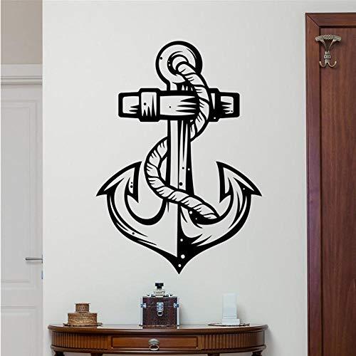 Anker Wandtattoo Anker Meer Ozean Vinyl Aufkleber Marine Nautische Badezimmer Wanddekor Wandkunst Kinder Jungenzimmer Wandaufkleber 81 * 58 cm -