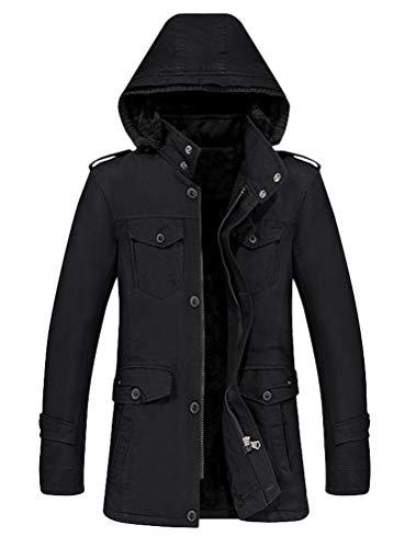 Mallimoda Herren Mantel Wärmemantel Freizeit Winterjacke mit Kapuze Übergröße Jacken 2-Schwarz XL