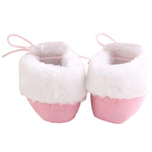 WAYLONGPLUS Baby-Jungen-Mädchen Prewalker Winter Baumwolle weiche Sohle rutschfeste Stiefel Schuhe Pink