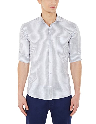 Blue Fire Men's Striped Full Sleeve Slim Fit Poly Cotton Casual Shirt (BF10080138)  available at amazon for Rs.349