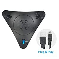 ‏‪USB Conference Computer Microphone VOIP Omnidirectional Desktop Wired Microphone Built-in Speaker Support Volume Control Mute Function Plug & Play for PC Laptop Office Meeting Video Conference‬‏
