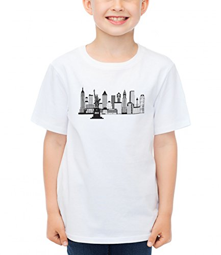 Billion Group | New York Skyline Black White Illustration | City Collection | Boys Classic Crew Neck T-Shirt Bianco Medium