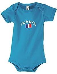 Supportershop–Azul Body Francia Aqua Mixta bebé, Body bébé France Bleu, Azul, FR : 0-3 mois (Taille Fabricant : 0-3 mois)