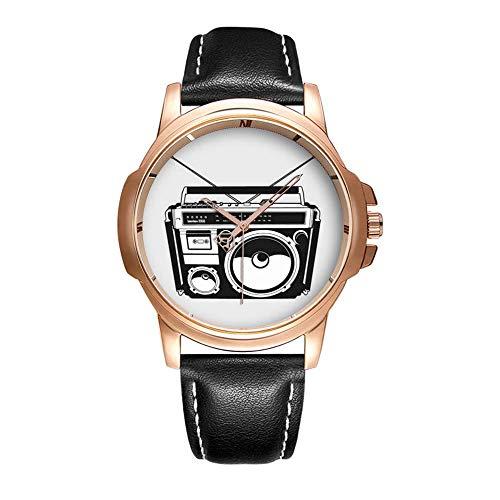 Personality Mode Wasserdichte Herren-Armbanduhr Analoges Quarzlederband Mit Gold-345.80s Boombox Wristwatch