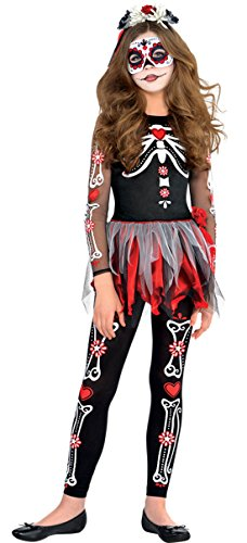 erdbeerloft - Mädchen Skelett Kostüm, Halloween, Mehrfarbig, Größe 140-152, 10-12 (Katze Gesichts Up Halloween Kostüm Make)