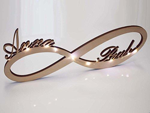 Unendlichkeitszeichen Led Licht (Echt Holz) Unendlichkeitsschleife Infinity Wunsch Name - Geschenk zB Geburtstag Hochzeit Verlobung Jahrestag Familie Liebe Geldgeschenk Jubiläum Goldene Silberne