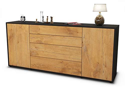 Stil.Zeit Sideboard Elettra/Korpus anthrazit matt/Front Holz-Design Eiche (180x79x35cm) Push-to-Open Technik & Leichtlaufschienen