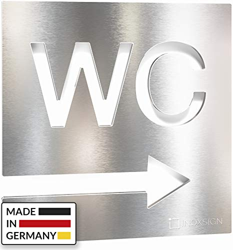 INOXSIGN Edelstahl WC-Schild - selbstklebend & pflegeleicht - Design Toiletten-Schild - Pfeil Richtung rechts - W.02.E