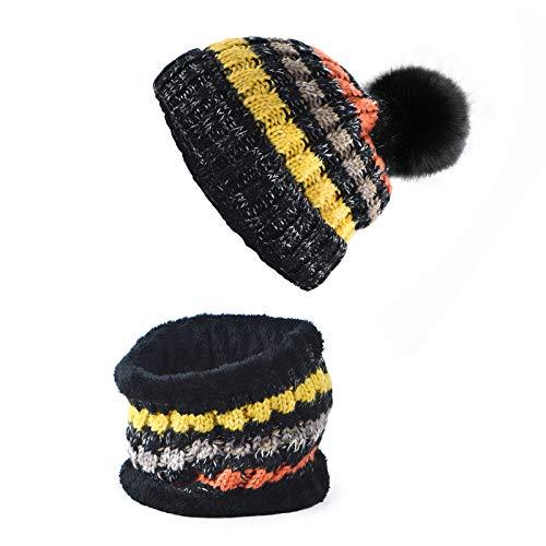 RooLee Mütze Schal Set Herren Damen - warm dick Wintermütze Beanie Strickmütze mit Fleecefutter - Bunt