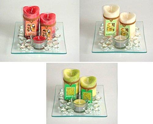 Idea arredamento: vassoio in vetro con pietre due candele etniche e una t-light; colori assortiti, indicare preferenza