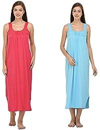 Ishita Fashions Cotton Gown Slip - Cotton Nighty - 2 PCs - Pink and Turquoise