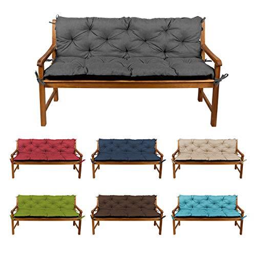 Bankauflage Bankkissen Sitzkissen + Rückenlehne für Hollywoodschaukel Gartenpolster (110x50x50, 2 Dunkelgrau)