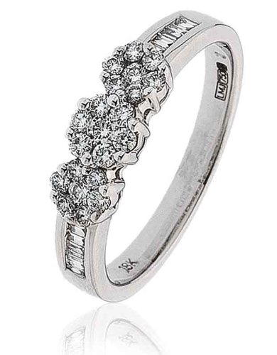0.40CT Certified G/VS2 Round Brilliant Cut Claw Set Trilogy Cluster Diamond Ring with Baguette Diamond Shoulders in 18K White Gold