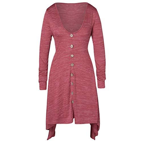 SEWORLD Elegant Kleid Damen Heißer Einzigartiges Design Mode Große Größe Button Asymmetrische,Space Dyed T-Shirt mit V-Ausschnitt und Langen Oberteilen Bluse Top(Rot,EU-48/CN-5XL)