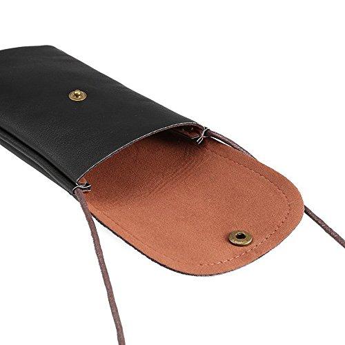 meaci (TM) multifonction en cuir PU Téléphone manches Housse Sacoche Pochette Sac à Main Portefeuille avec dragonne bandoulière et fermeture Éclair ID Support pour smartphone Taille d'éc
