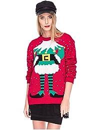 641ebbdd8ce8 Weihnachtspulli Christmas Sweater Damen Sweatshirt Pullover Merry Christmas  Rentier Weihnachten Pulli Elf