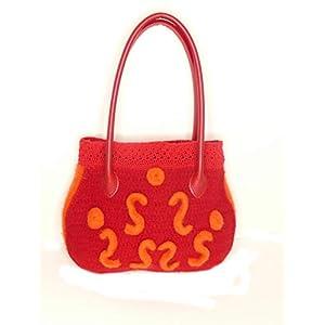 Henkeltasche Handtasche in orange rot