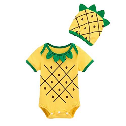 Neugeborene Babykleidung,Neugeborenes Baby Jungen Mädchen 3D Ananas Spielanzug Hut 0-24 Monate Baby Schlafanzug(Gelb,0-6 Monate/70)