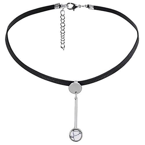 Bishilin Leder Choker Damen Halskette Halsband Rund Pendel Anhänger Silber Schwarz Halskette Verstellbare Länge 33+5.5CM (Türkis Leder Kies)
