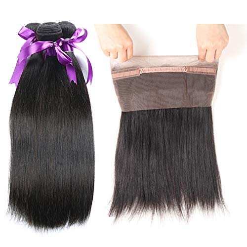 Natürliche Haarteile Peruanisches glattes Körper-Haar 360 Lace Frontal Closure with 3 Bundles Menschenhaar-Bündel with Closure Non-Remy Perücken (Length : 12 14 16 Closure 10)