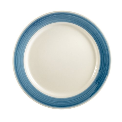 CAC China R-21-BLUE Rainbow Rolled Edge 12-Inch Blue Stoneware Round Plate, Box of 12 Rainbow Rolled Edge