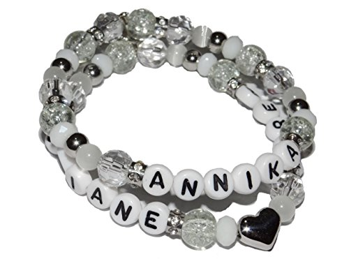 ARTemlos® Handmade Damen-Armband mit Name, aus Edelstahl und Perlen, 2reihig (019)