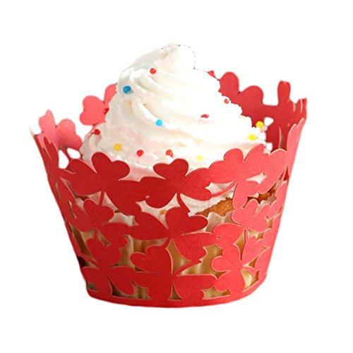 24 Pc Cupcake Wrappings Hollow Party Dekoration Muffin Papier Wraps, (Liebe Dekoration Wrap)