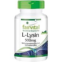 L-Lysin 500mg - GROSSPACKUNG für 3 Monate - HOCHDOSIERT - VEGAN - 100 Kapseln - L-Lysin-Hydrochlorid
