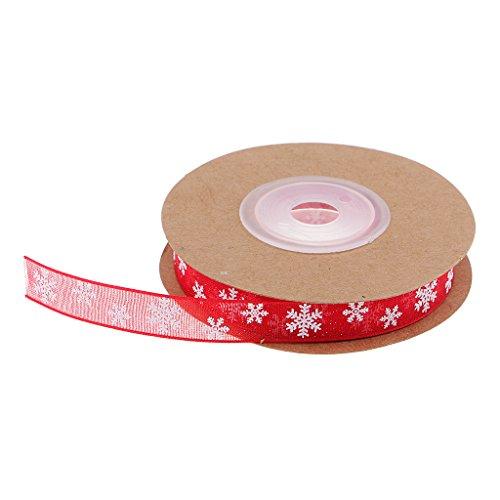 Homyl Schneeflocke Gestickt Organzaband Perlenband Satinband Hochzeit Satin Trim Ribbon Rot für Weihnachtskarten, Geschenkverpackung - Rot, 10m - Satin Ribbon Trim