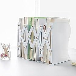 rétractable Heavy Duty antidérapante Serre-livres Bureau Boîte de rangement organisateur en métal Porte-revues support Desk Tidy livre étagère support support pour accordéon blanc
