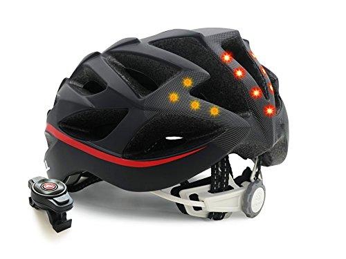 Livall Erwachsene BH62 Musik, Rücklicht, Blinker, Navigation, Anruffunktion und Sos-System Fahrradhelm, Schwarz/Rot, 55-61cm