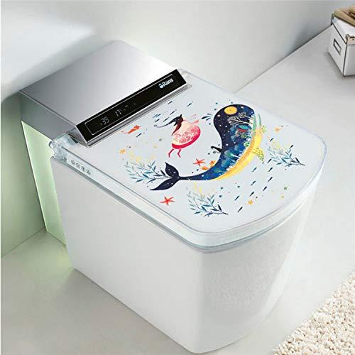 dasdjjhbh Unterwasser Fisch Delphin Hexe Katze Wandaufkleber Abziehbilder Kunst Bad Waschmaschine Toilette Bad Halloween Decoration30 * 30Cm