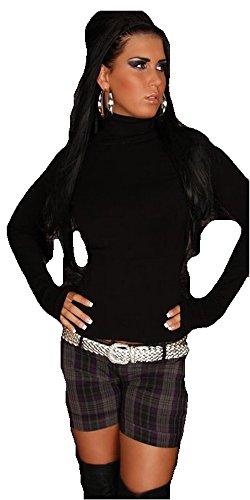 In Style Damen Pullover langärmelig mit Rollkragen,S/M,Schwarz