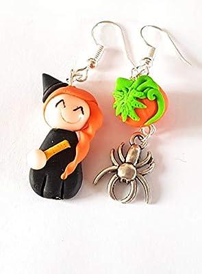 boucles d'oreille halloween sorciere et sa citrouille rigolo boucles enfant ou femme