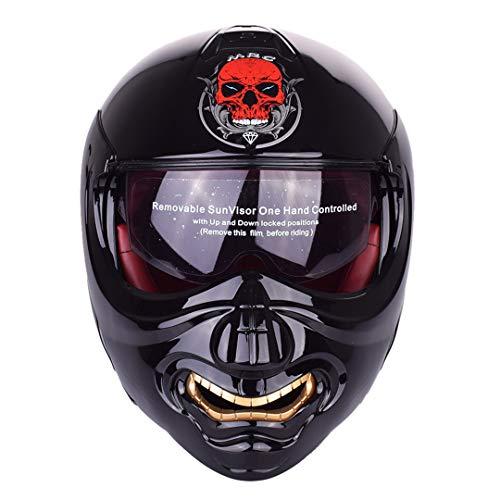 Y-Meanrnty Casco Ribaltabile modulare Touring Skull Motorcycles Chopper Retro Predator Vintage Cruiser Monster Helmets Glossy Black XL