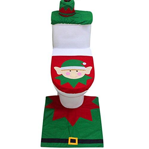 Petalum 3pcs Weihnachtsdeko Toilette Abdeckung WC Sitz Toilette Deckel Bodenmatte Badezimmerzubehör Set Elf Druck Weihnachten Geschenk (Weihnachtself)
