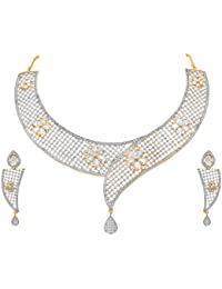 JFL - Traditional Ethnic One Gram Gold Plated American Diamond Designer Necklace Set With Earrings For Women &...