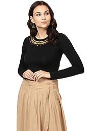 Label RITU KUMAR Women's Regular Fit Top (STPHVL40S26N18081642-BLACK-S_Black_Small)